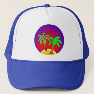 Palm trees on red and purple trucker hat