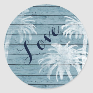 Palm Trees on Rustic Wood Background Beach LOVE Classic Round Sticker