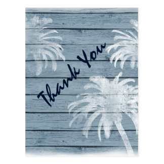 Palm Trees on Rustic Wood Beach Thank You Postcard