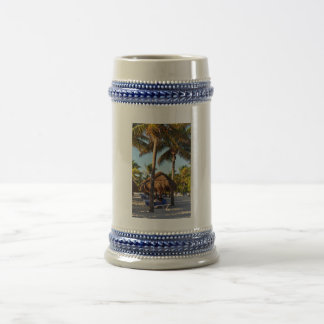 palm trees on the beach 18 oz beer stein