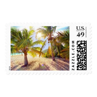 Beach Themed Palm Trees On The Beach Postage Stamps