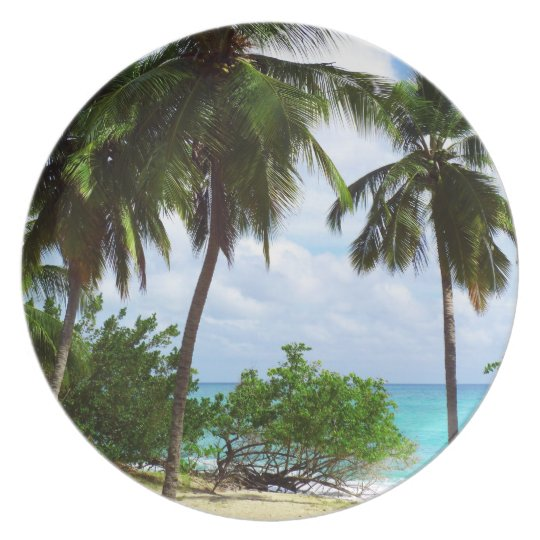 Palm Trees on Tropical Caribbean Seascape Plate