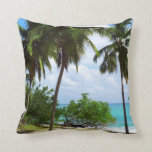 Palm Trees on Tropical Seascape Pillow