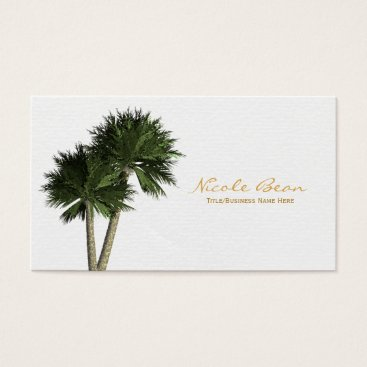 Professional Business Palm Trees on White Elegant Business Cards