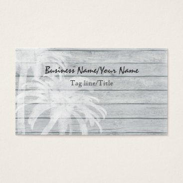 Professional Business Palm Trees on Wood Background Beach Business Card