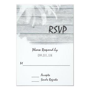 Beach Themed Palm Trees on Wood Beach Wedding RSVP Card