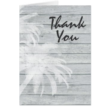 Beach Themed Palm Trees on Wooden Background Beach Thank You Card