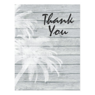Palm Trees on Wooden Background Beach Thank You Postcard