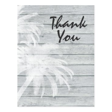 Beach Themed Palm Trees on Wooden Background Beach Thank You Postcard