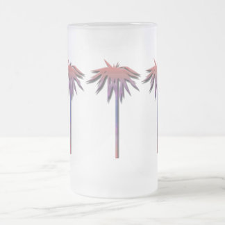 Palm Trees Pattern Frosted Glass Beer Mug