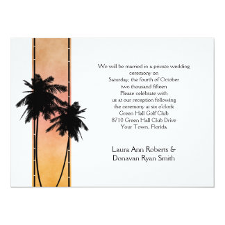 Palm Trees Peach Yellow Ombre Reception Only Card