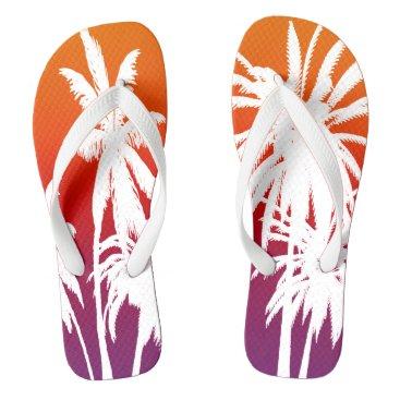 Beach Themed Palm Trees Purple Orange Haze Tahiti Sunset Retro Flip Flops