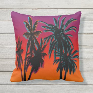 Beach Themed Palm Trees Purple Orange Haze Tahiti Sunset Retro Outdoor Pillow