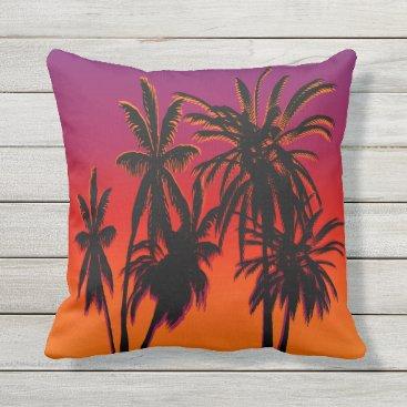 Palm Trees Purple Orange Haze Tahiti Sunset Retro Throw Pillow