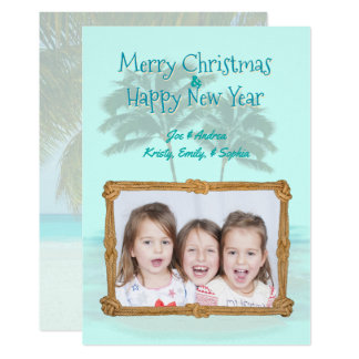 Palm Trees Rope Frame Christmas Photo Flat card