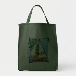 Palm Trees Sailboat Tote Bag
