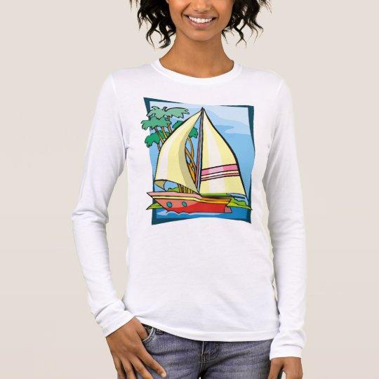 Palm Trees & Sailboat Long Sleeve T-Shirt