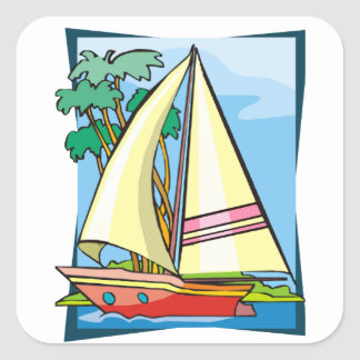 Palm Trees & Sailboat Square Sticker