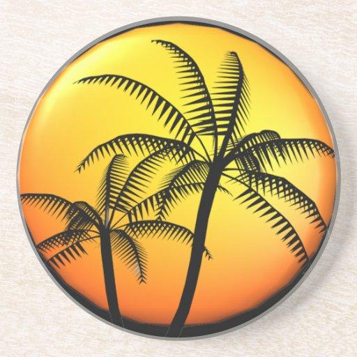 Palm trees sandstone beverage coaster zazzle - Sandstone drink coasters ...