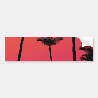 Palm Trees Silhouettes at Sunset Car Bumper Sticker