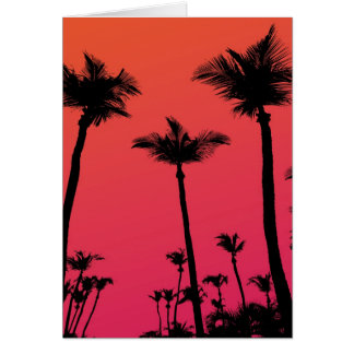 Palm Trees Silhouettes at Sunset Card