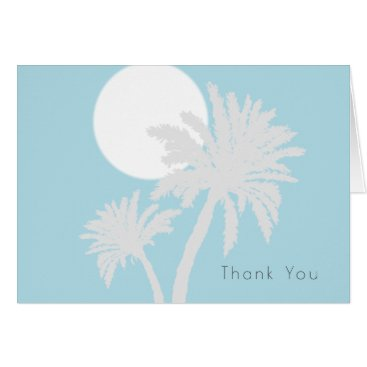 Beach Themed Palm Trees Simple Thank You Folded Note Card
