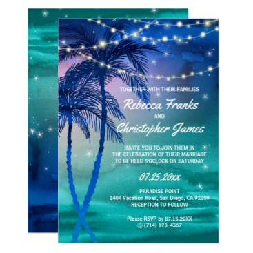 Beach Themed Palm Trees Strings of Lights Wedding Invitations