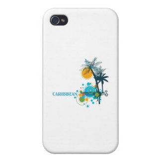 Palm Trees Sun & Circles CARIBBEAN Case For iPhone 4