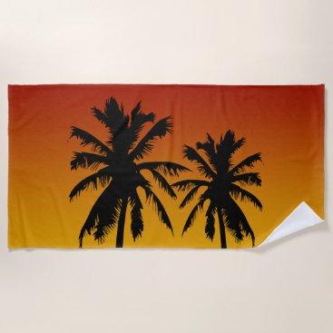 Beach Themed Palm Trees Sunset Beach Towel