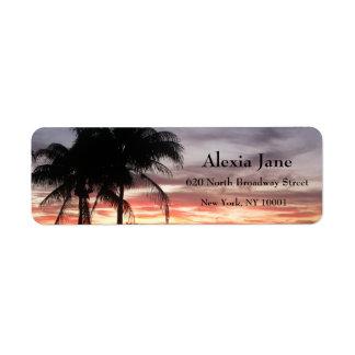 Palm Trees & Sunset Label