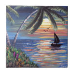 """Palm Trees Sunset Ocean Painting Ceramic Tile<br><div class=""""desc"""">Two coastal  palm trees and a sailboat on the ocean at sunset with birds and flowers. Beautiful seascape acrylic painting landscape of a Caribbean tropical beach.  Original traditional hand-painted by Donna Leger for &#169;irony designs</div>"""
