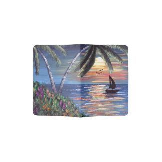 Palm Trees Sunset Ocean Painting Passport Holder