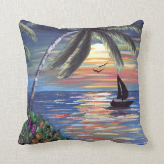 Palm Trees Sunset Ocean Painting Throw Pillow