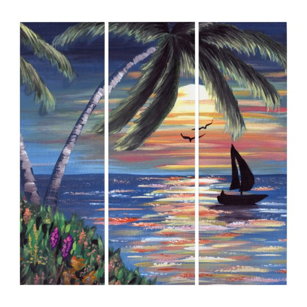 Palm Trees Sunset Ocean Painting Triptych