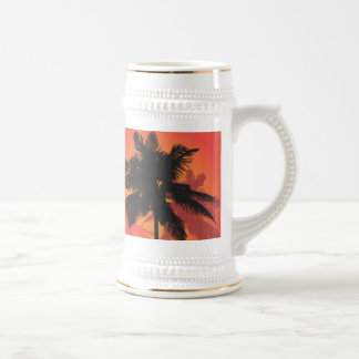 Palm Trees Sunset Silhouettes Beer Stein
