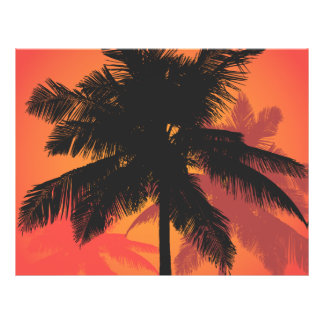 Palm Trees Sunset Silhouettes Flyers