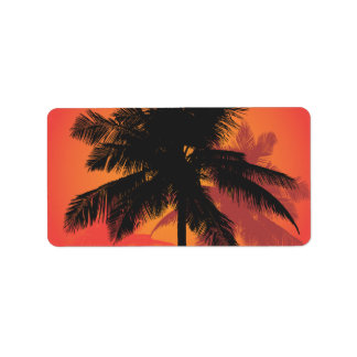 Palm Trees Sunset Silhouettes Personalized Address Labels