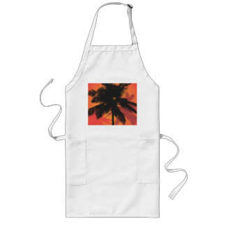 Palm Trees Sunset Silhouettes Long Apron