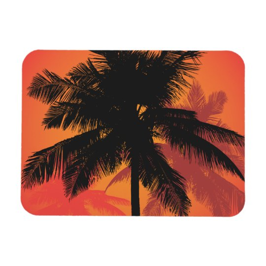 Palm Trees Sunset Silhouettes Magnet