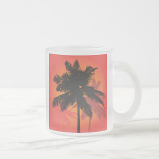 Palm Trees Sunset Silhouettes 10 Oz Frosted Glass Coffee Mug