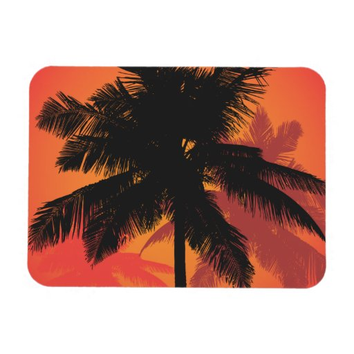 Palm Trees Sunset Silhouettes Rectangular Photo Magnet