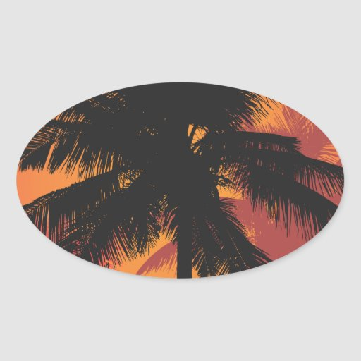 Palm Trees Sunset Silhouettes Sticker