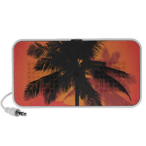Palm Trees Sunset Silhouettes Travelling Speaker