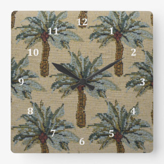 Palm Trees Tapestry Texture Look Square Wall Clock