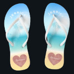 """Palm Trees Tropical Beach Wedding Heart Bridesmaid Flip Flops<br><div class=""""desc"""">Personalized, trendy rose gold heart beach wedding flip flop sandals for bridesmaids and other members of the bridal party- Background is a tropical beach scene with a palm trees against a pretty blue sky and full sunlight with aqua turquoise water and sandy beach. Faux foil, rose gold heart design at...</div>"""