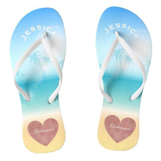 151a09604102 Palm Trees Tropical Beach Wedding Heart Bridesmaid Flip Flops ...