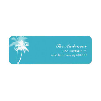 Palm Trees Tropical Beach Wedding Label