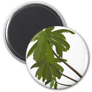 Palm Trees Tropical Hawaiian Theme White Trendy Magnet