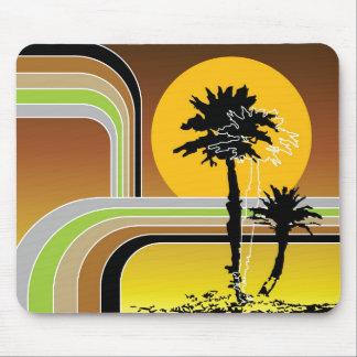 Palm Trees Tropical Retro Beach Sunset Stripes Mod Mouse Pad