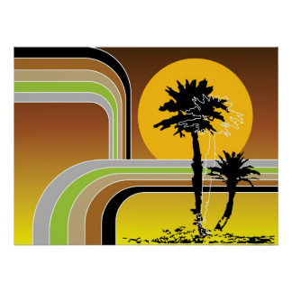 Palm Trees Tropical Retro Beach Sunset Stripes Mod Print